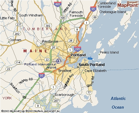 map of portland maine and surrounding areas Ties 2004 map of portland maine and surrounding areas